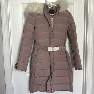 Express Pink Winter Coat w/Faux Fur Hood Sz S